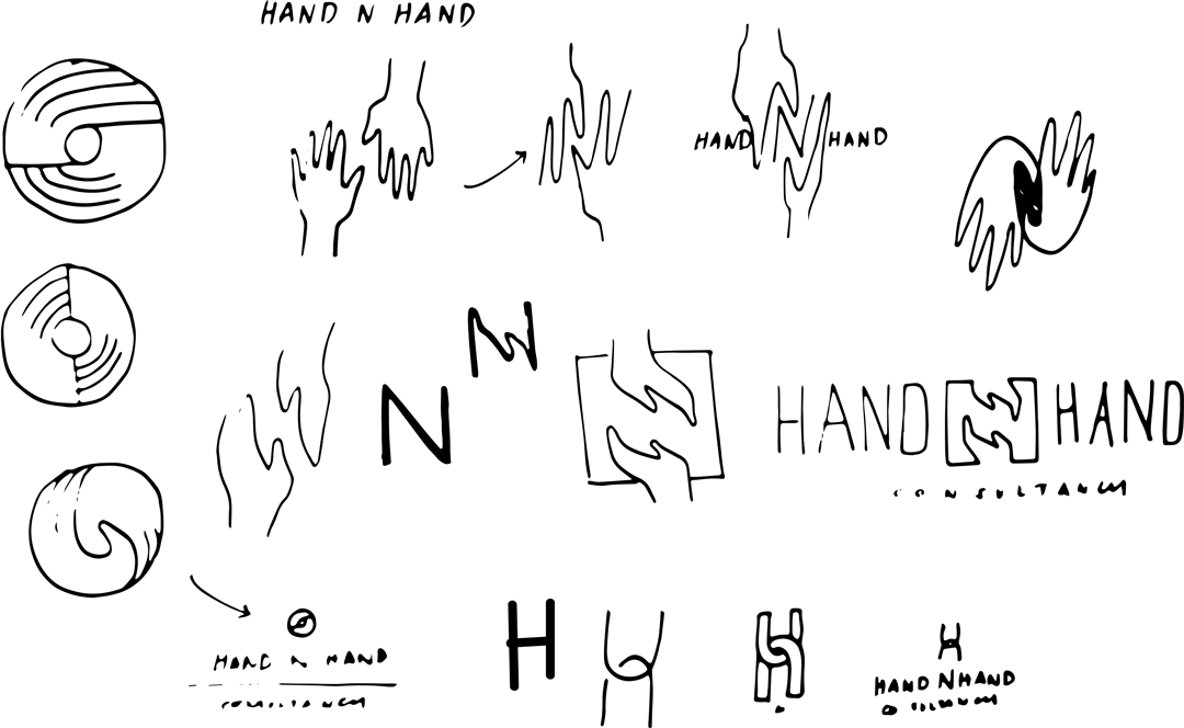 Hand N Hand logo ideation sketches - HandnHand