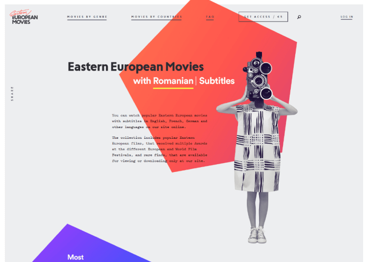 Homepage of Eastern European Movies which web designers styled simply and elegantly.
