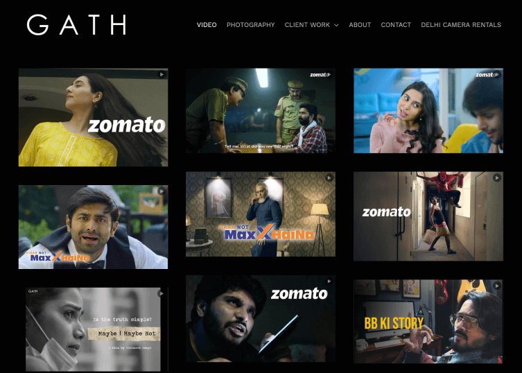 Gallery of the projects of Gath Productions on their site with a dark, large background..