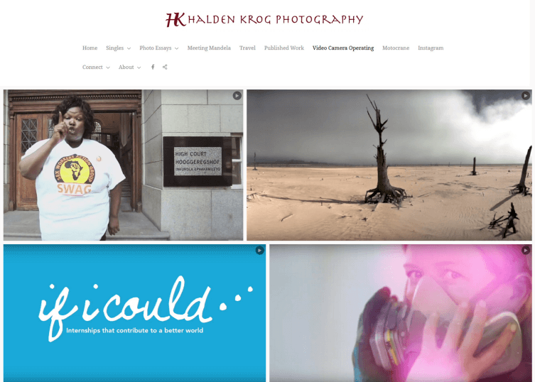 Simple, images in Halden Krog's site with a large background.