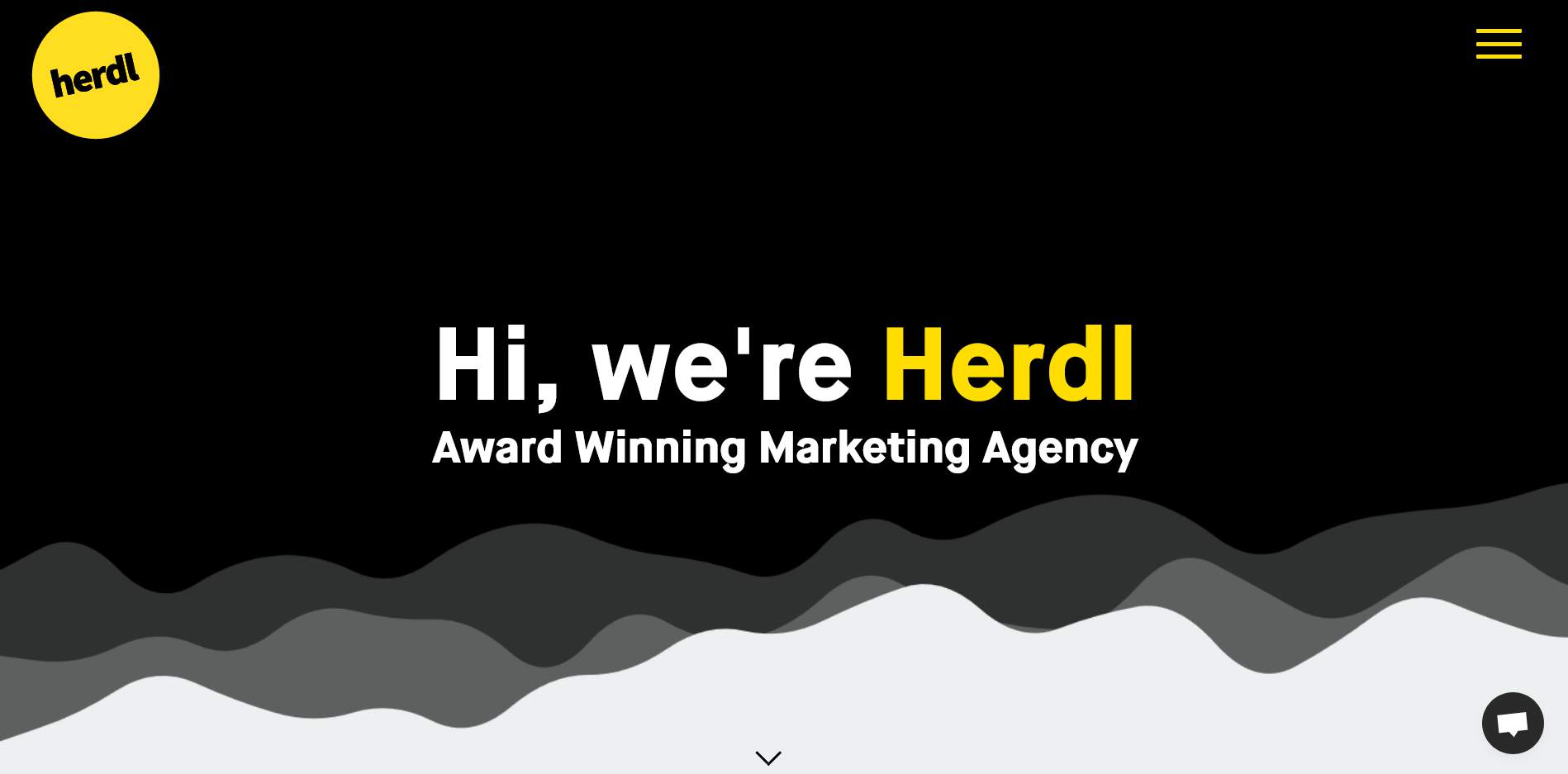 Herdl's website homepage, another example of a great web design and web development agency.