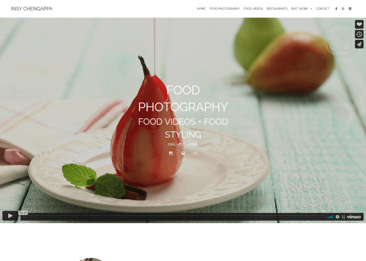 Site of professional photographer Insy that utilizes a large background image of fruit on her homepage.