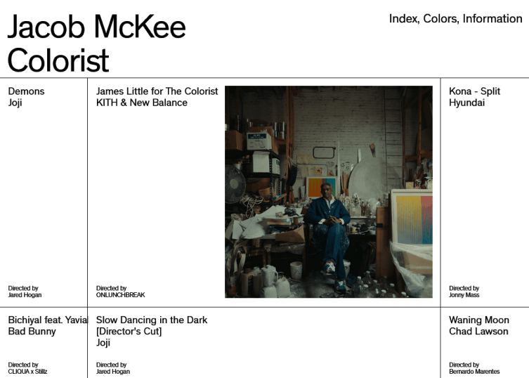 Site of colorist, Jacob McKee, showcasing a still of one of the projects he worked on in a simple, white, large background.