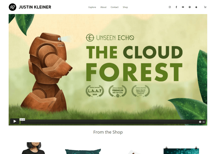 Homepage of Justin Kleiner which shows a large background video.