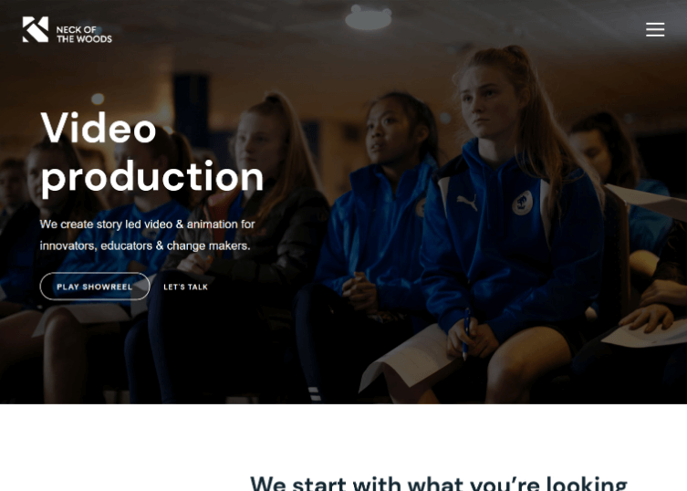Homepage of Neck of the Woods a video production agency.