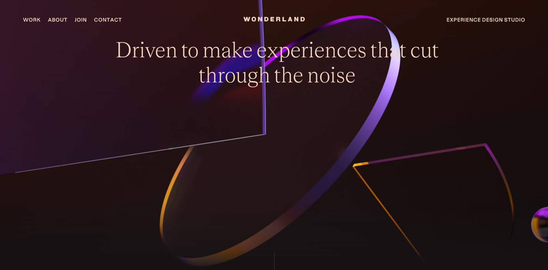 Homepage of Wonderland, an excellent web design company.