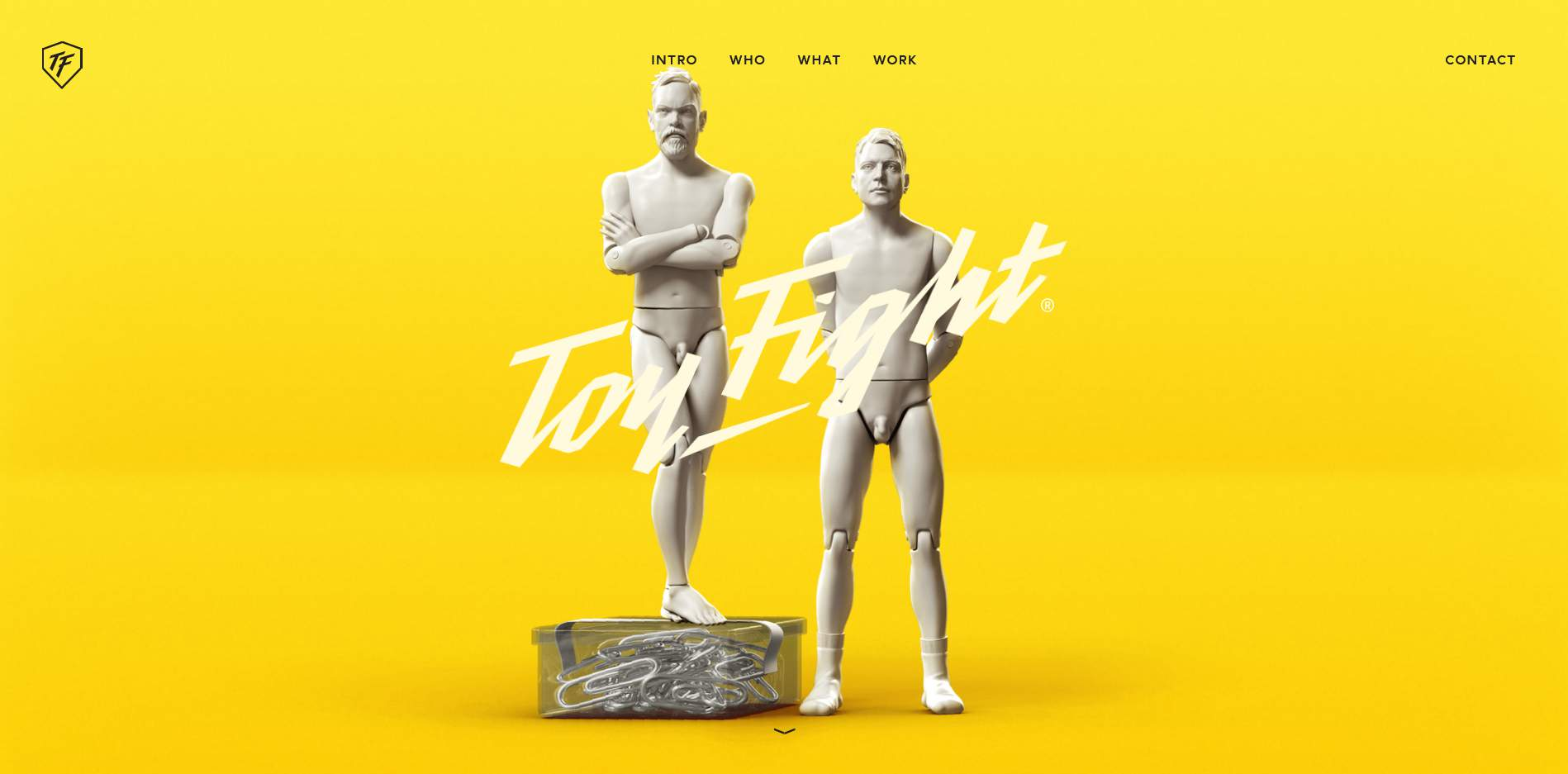 ToyFight homepage, showing off 3D-rendered sculptures of the duo behind the web design company.