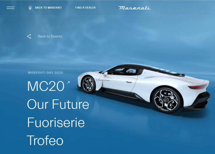 Homepage that shows a CG of a car in a blue video background.
