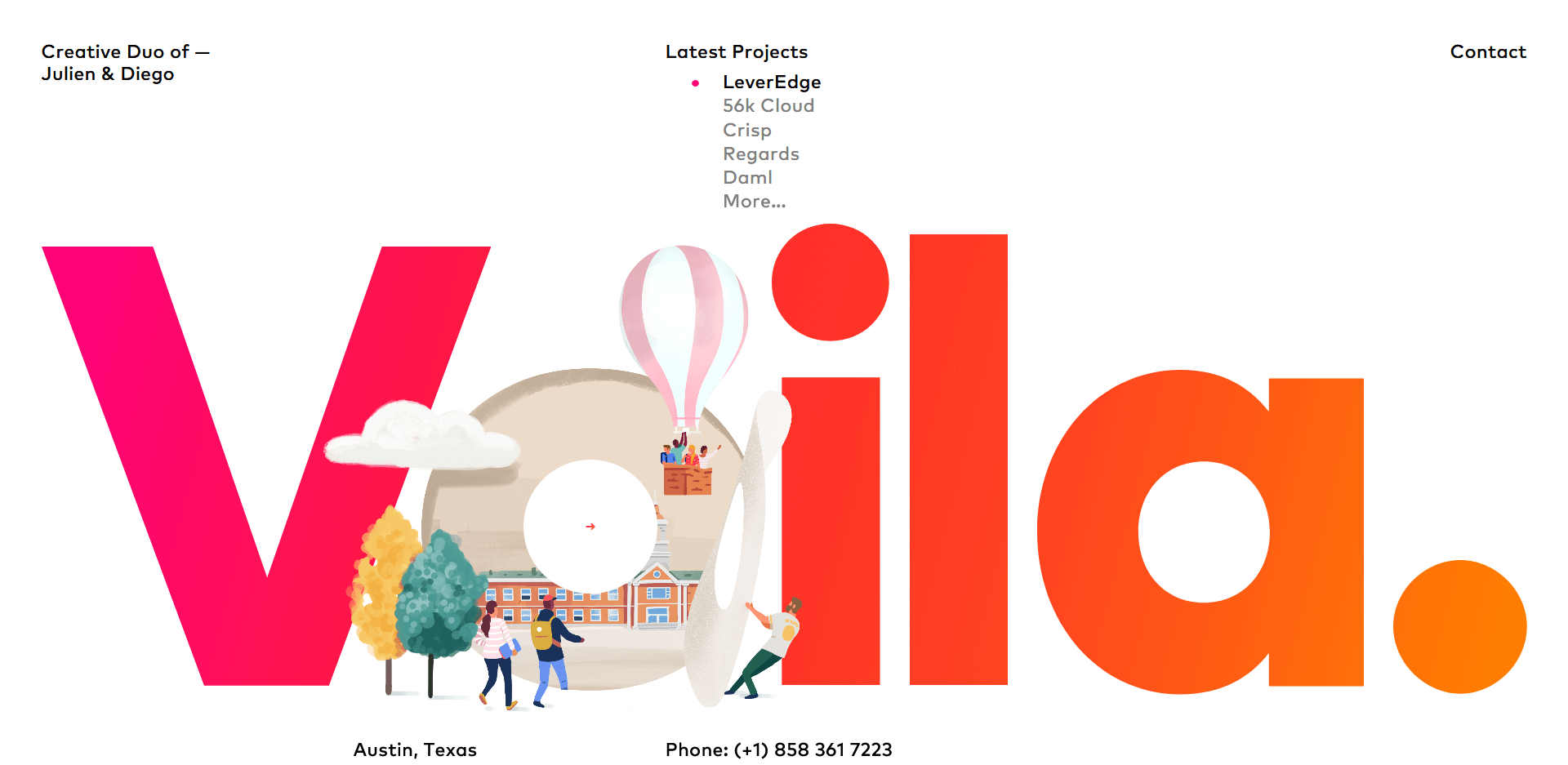 Homepage of Voila by the duo of Julien and Diego, web design and web development experts.
