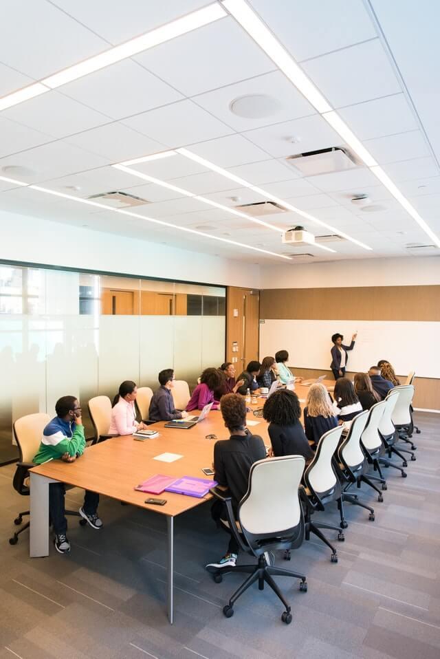 Social media team training in a room.