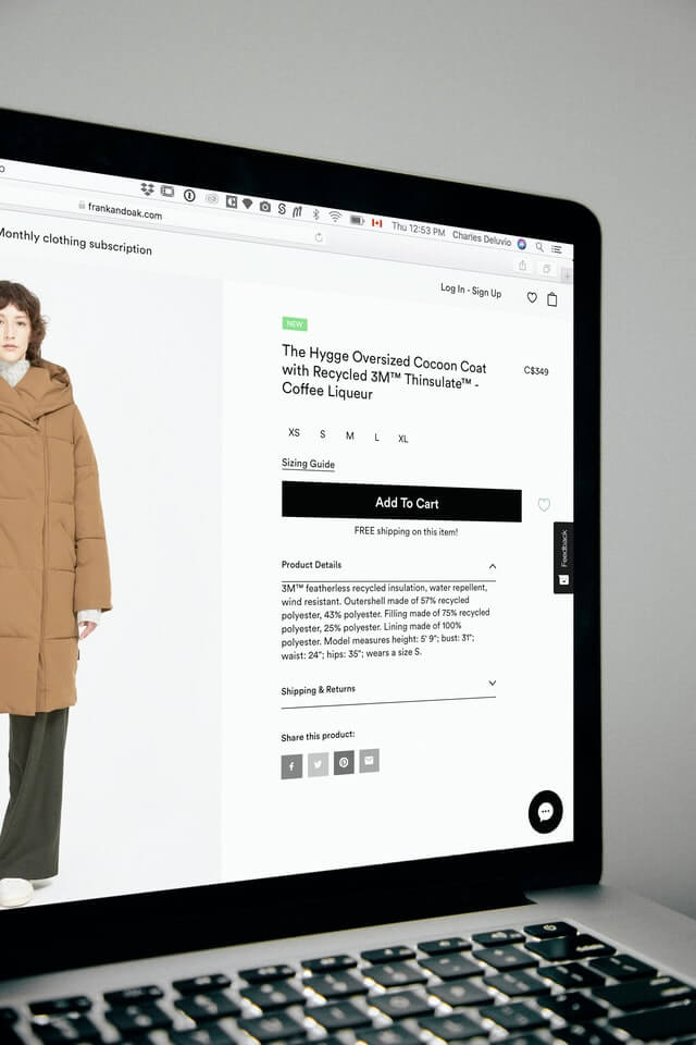 A shot of a product page in an e-commerce site that a growth hacker can apply growth hacking techniques to.